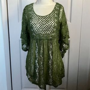 Vintage moss green lace top XL